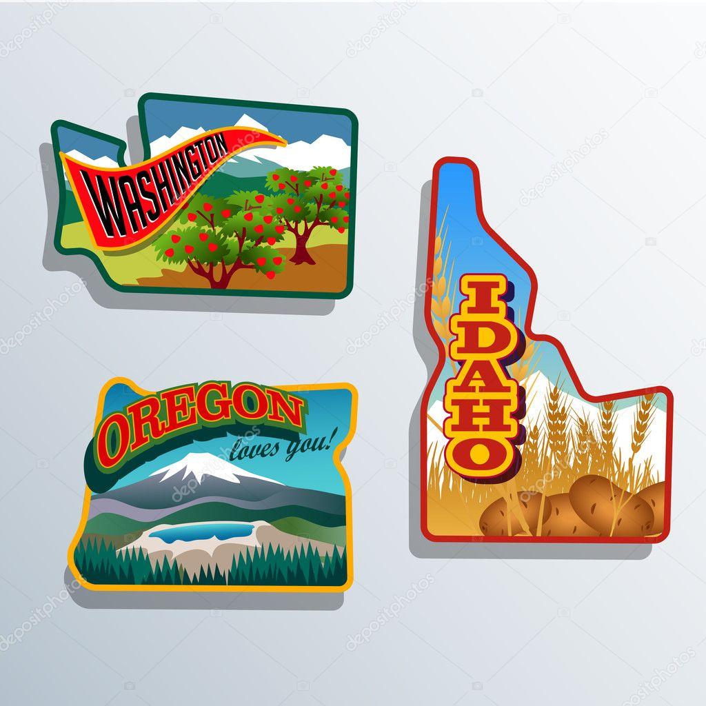 Northwest United States Idaho, Oregon, Washington retro sticker patch designs
