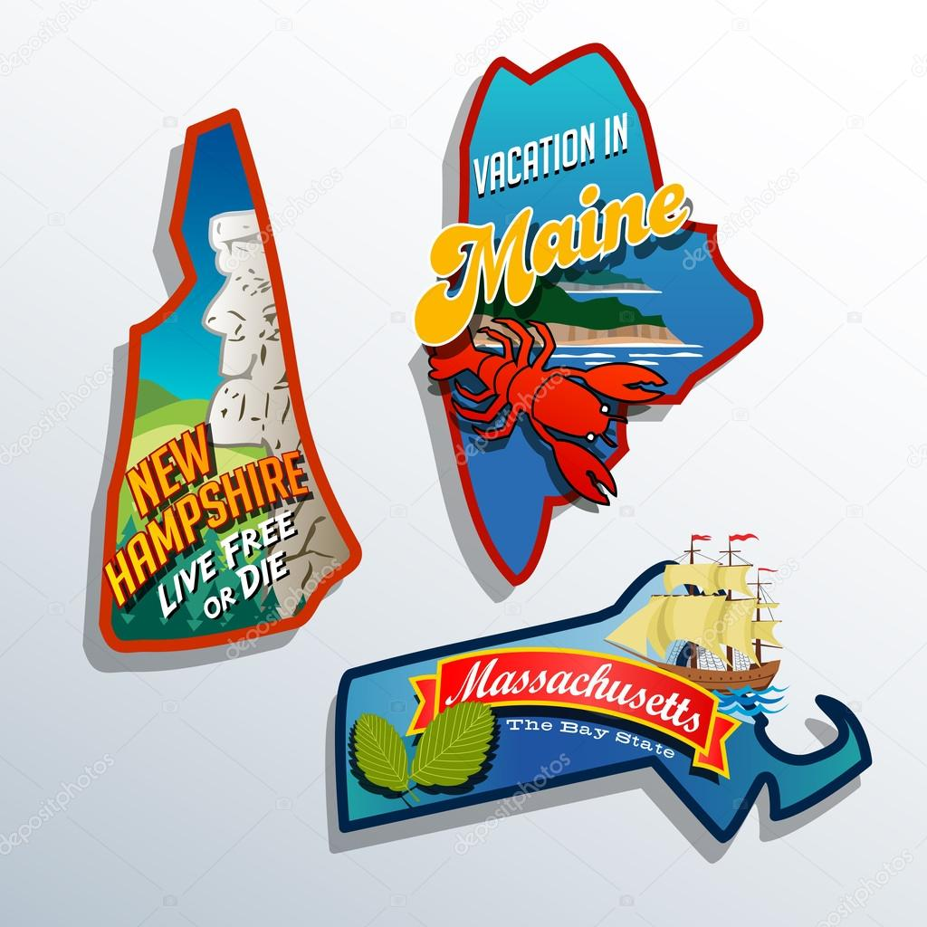 Eastern United States Maine Massachusetts New Hampshire travel illustrations designs