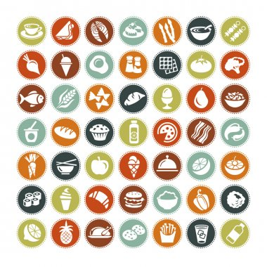 49 different food icons stock vector