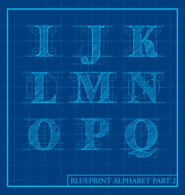 Blueprint style letter set alphabet
