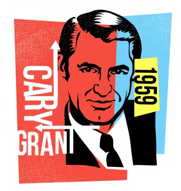 Vector graphic design cary grant
