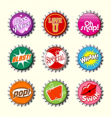 Retro bottle cap designs set 1