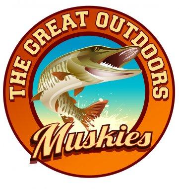 Muskie fishing illustration label design