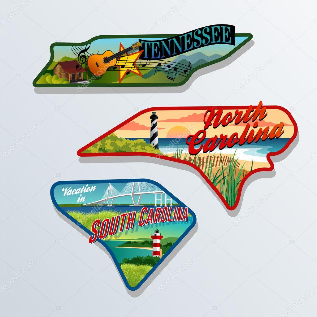 Luggage stickers Tennessee, South Carolina, North Carolina