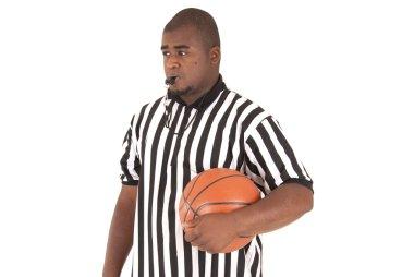 African American model in basketball referee uniform