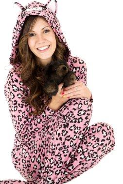 female model in pink leopard pajamas