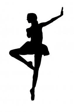 black and white silhouette of a ballerina girl