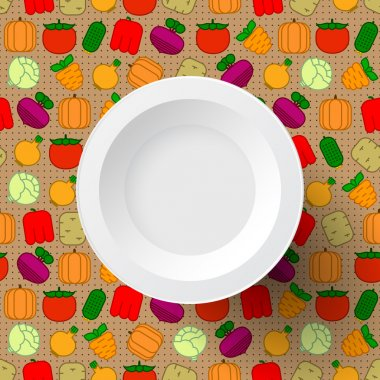 White plate on seamless background