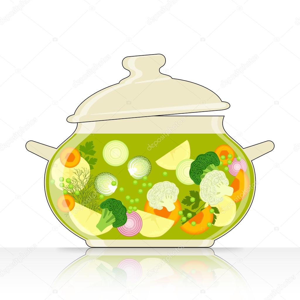 Saucepan with vegetable soup