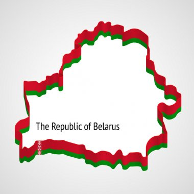 Belarus, stylized map and flag