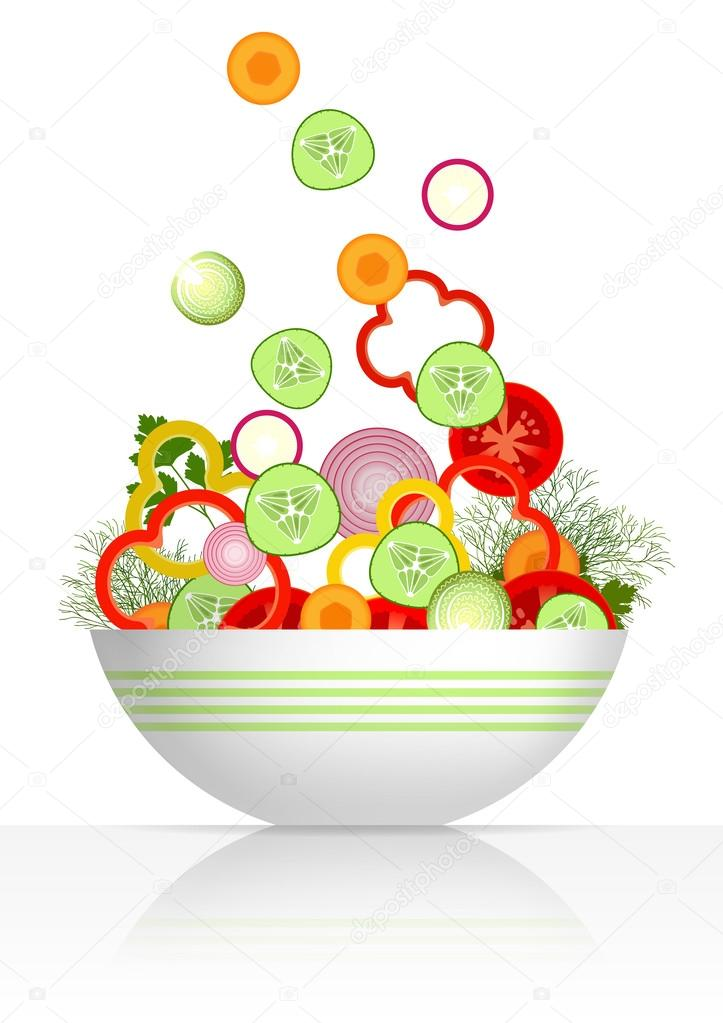 Bowl and fresh vegetables