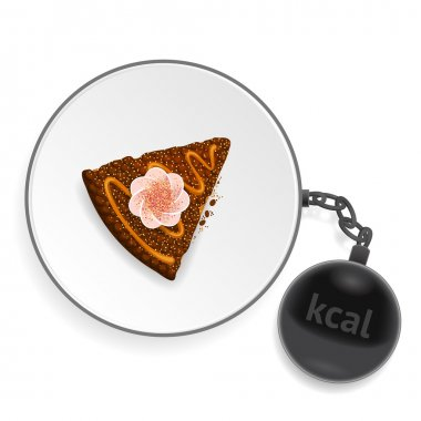 Dish with piece of cake and kettlebell