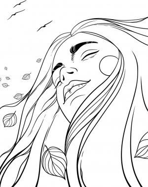 """Картина, постер, плакат, фотообои """"векторная иллюстрация с девушкой с развевающимися волосами на осеннем ветру. осенняя девушка """", артикул 31459537"""