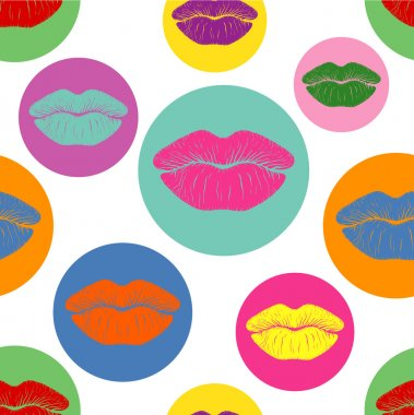 Vector pattern with traces of lipstick in Pop Art style
