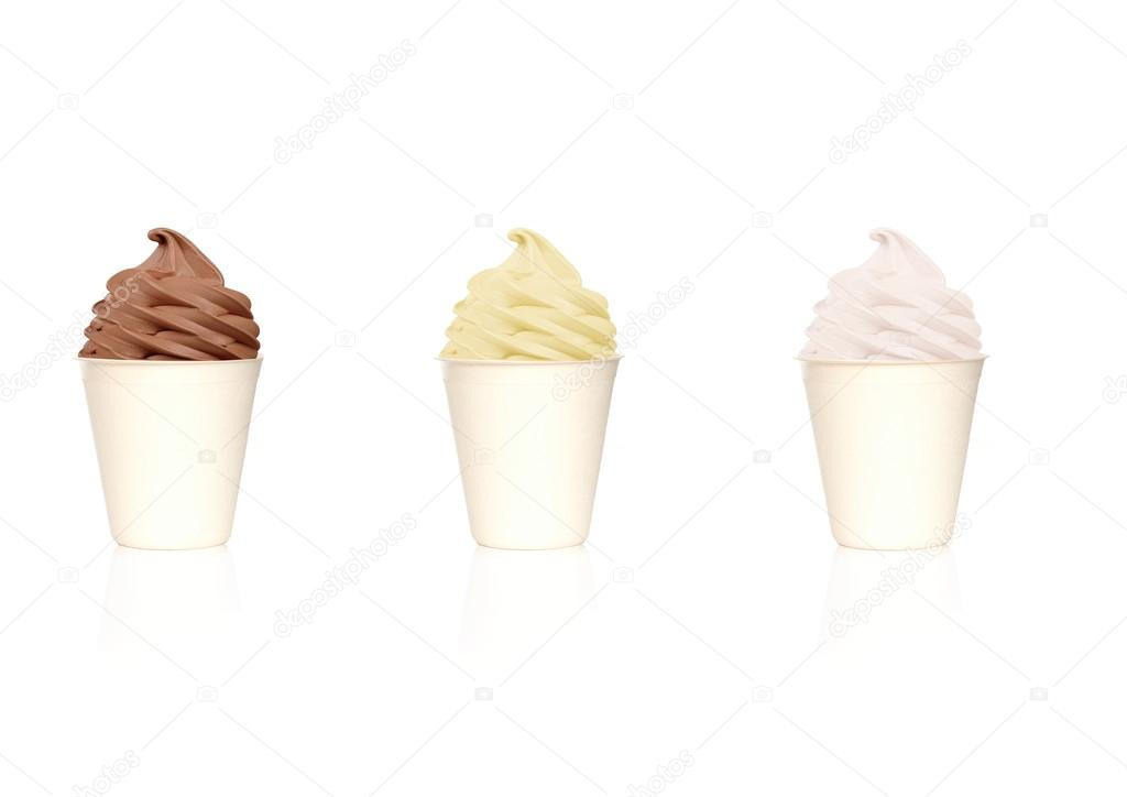 Different frozen yogurt in white cups