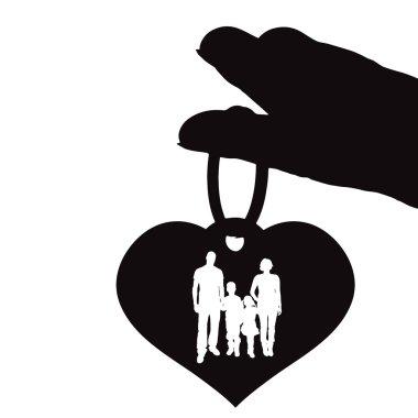 Vector silhouette illustration of heart.