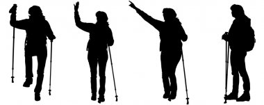 Vector silhouettes of people with trekking stick.