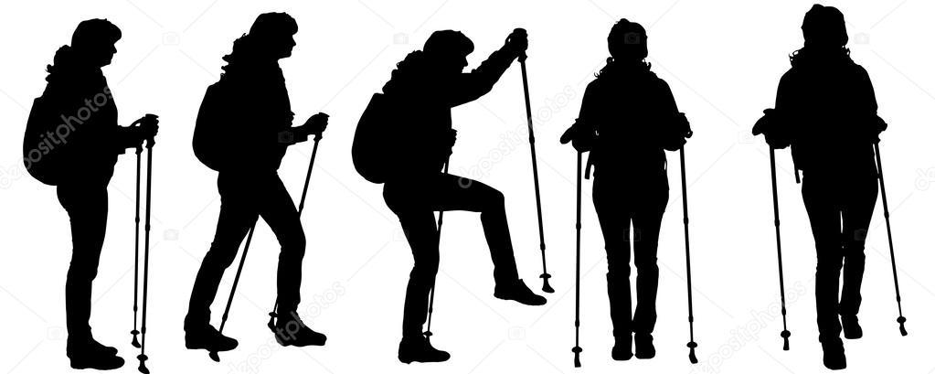 Foto Sagome Persone.Vettore Trekking Silhouette Vettore Sagome Di Persone Con