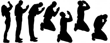Vector silhouette of people who pray.