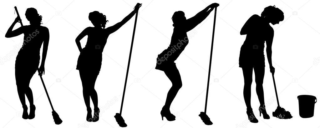 silhouette vettoriali di una donna delle pulizie — Vettoriali Stock ...