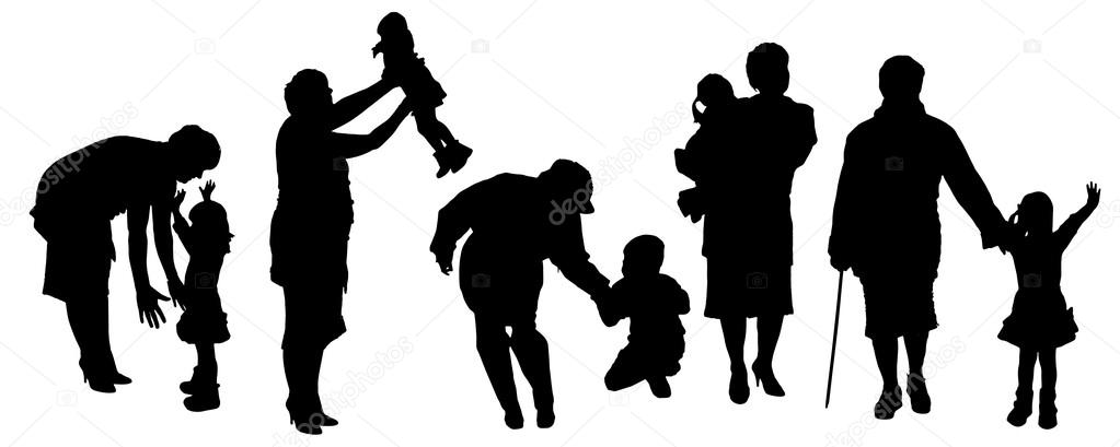 Silueta Vector De Una Familia