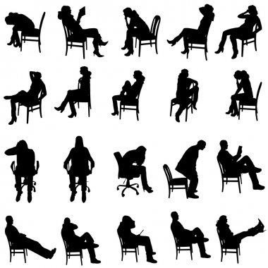 Vector silhouette of people sitting on a white background. stock vector