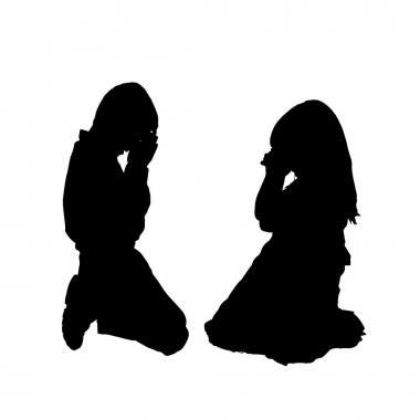 Vector silhouette of children on a white background. stock vector