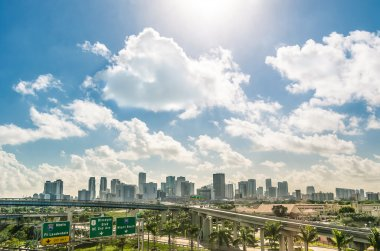 Miami skyline and highways daytime