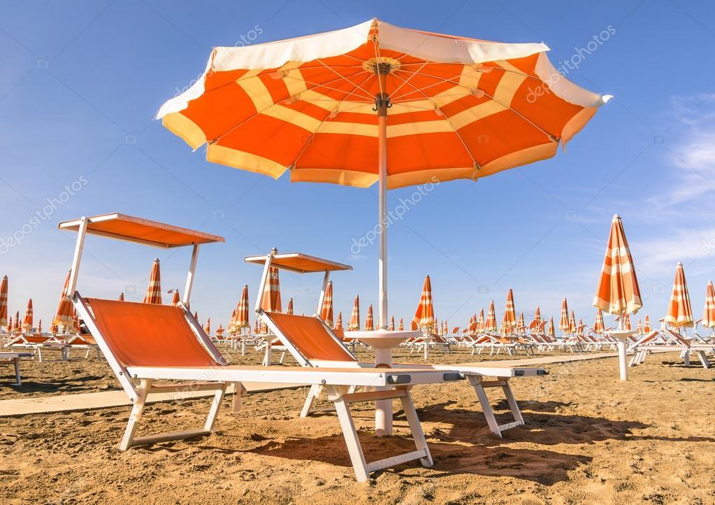 Beach Umbrellas at the beginning of the Season - Rimini Beach, Italy