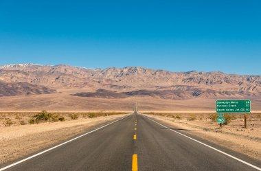 Death Valley, California - Empty infinite Road in the Desert