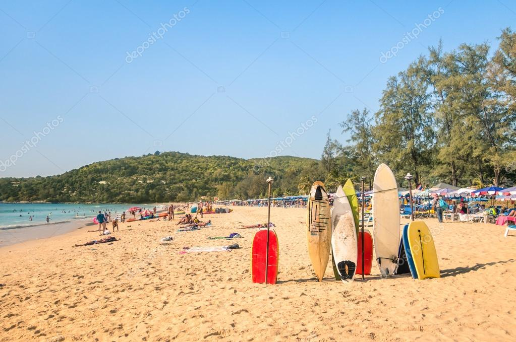 Surfboards At A Tropical Beach Extreme Sport Body Boards In Sunny Day With Unrecognizable Generic People Relaxing The Seaside Photo By Viewapart