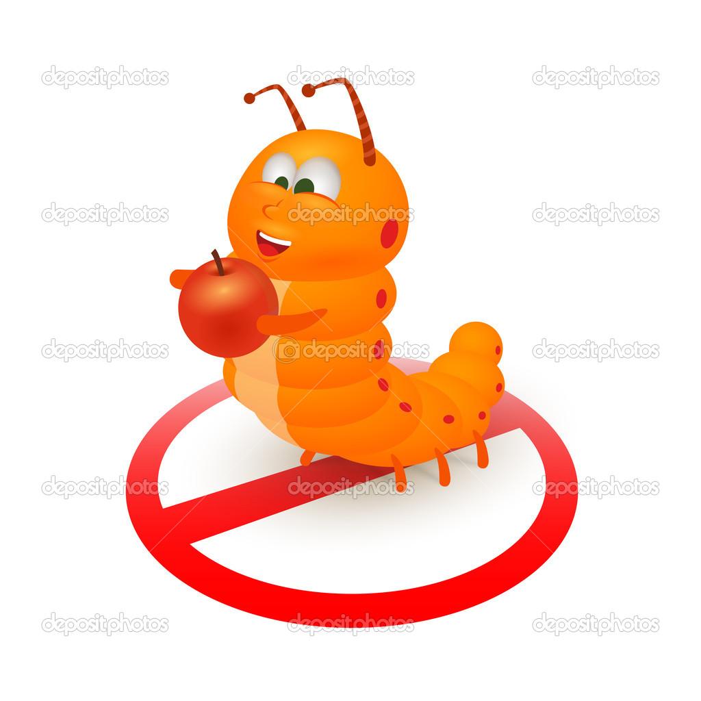 Cartone animato carino bruco arancione — vettoriali stock