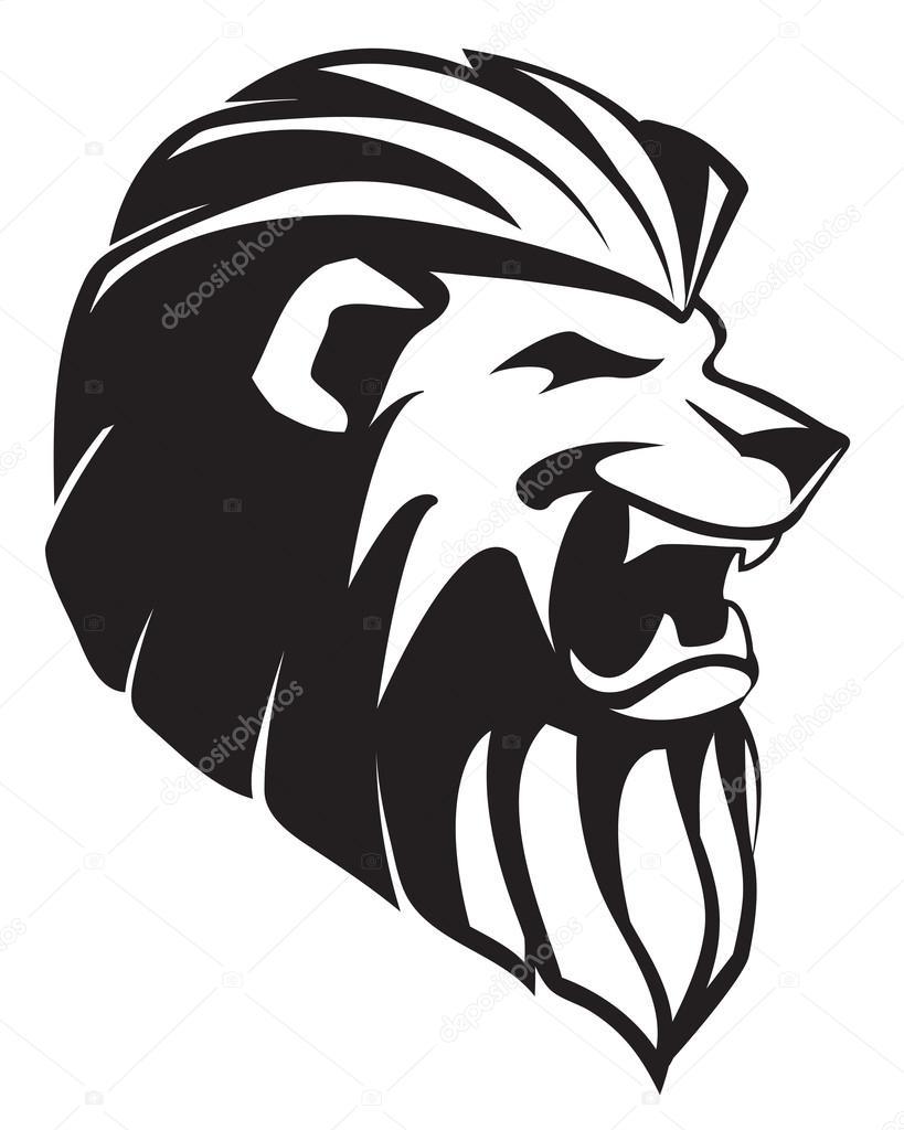 The head of roaring lion - tatoo