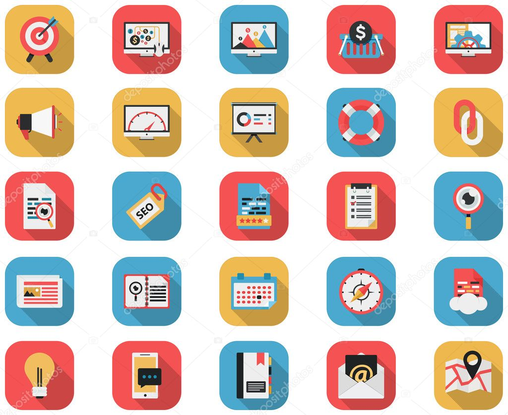 Flat SEO Icons and Internet Marketing Icons