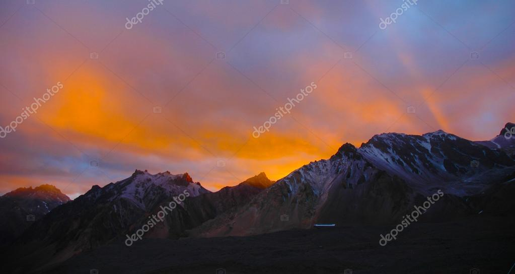 Sunset in Andes Mountains, Aconcagua