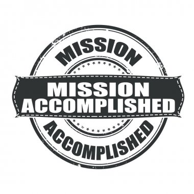 Mission accomplished grunge stamp whit on vector illustration clip art vector