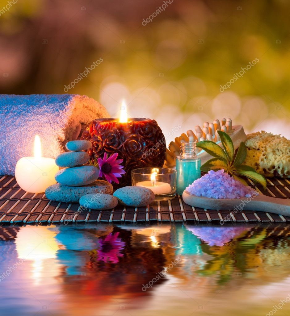 Preparation for massage and relaxation in the garden