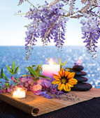 Fotografie Massage stones with candles, daisy and wisteria - sea background - backlight