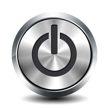 Round metallic button - standby