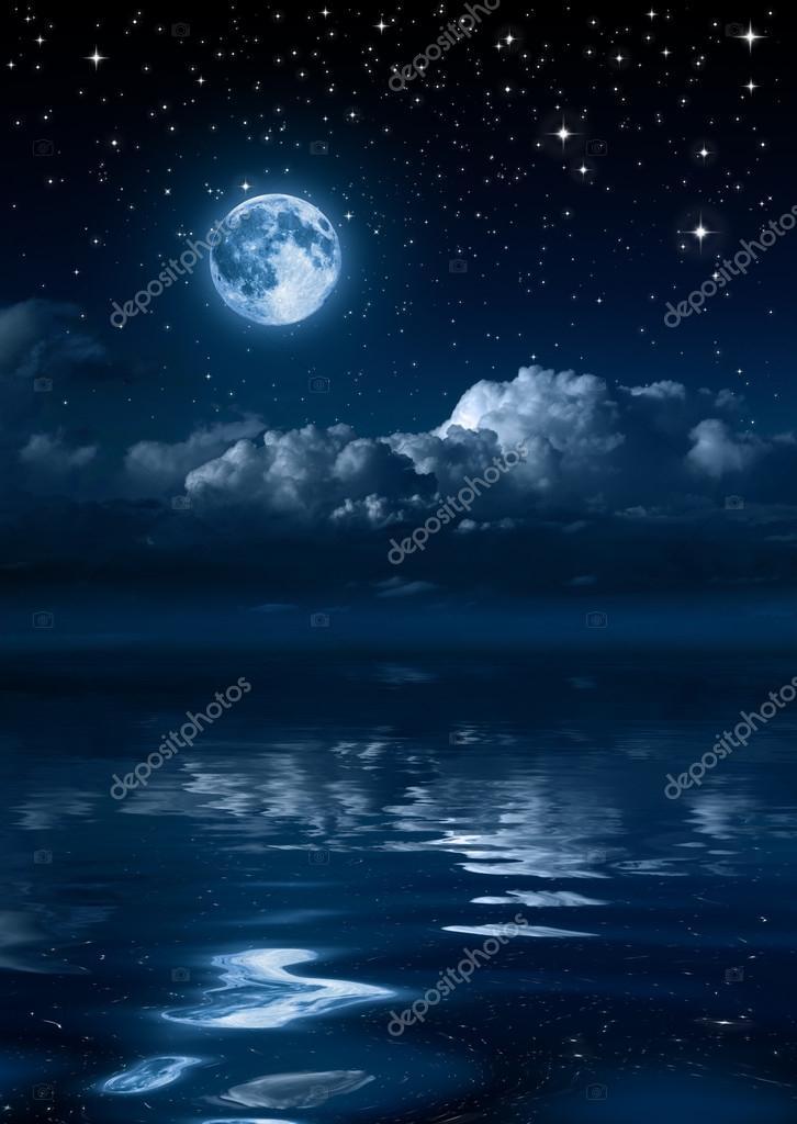 Фотообои Moon and clouds in the night on sea
