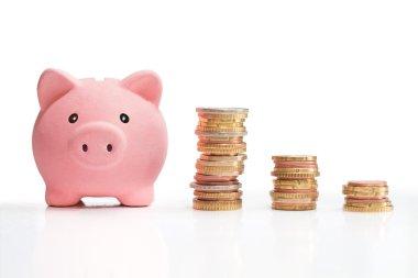 Piggybank and chart whit money tower