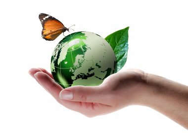 Eco-friendly concept - butterfly on planet in hand