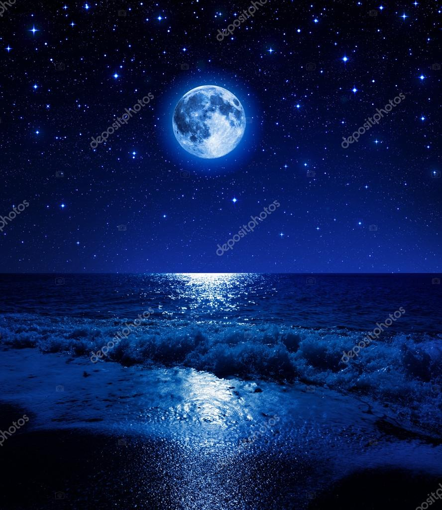 Фотообои Super moon in starry sky on sea beach