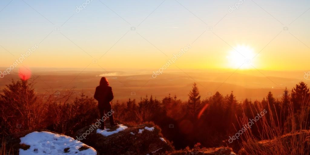 Winter Sunset: Early March Winter Landscape Picture in Bavaria, Germany
