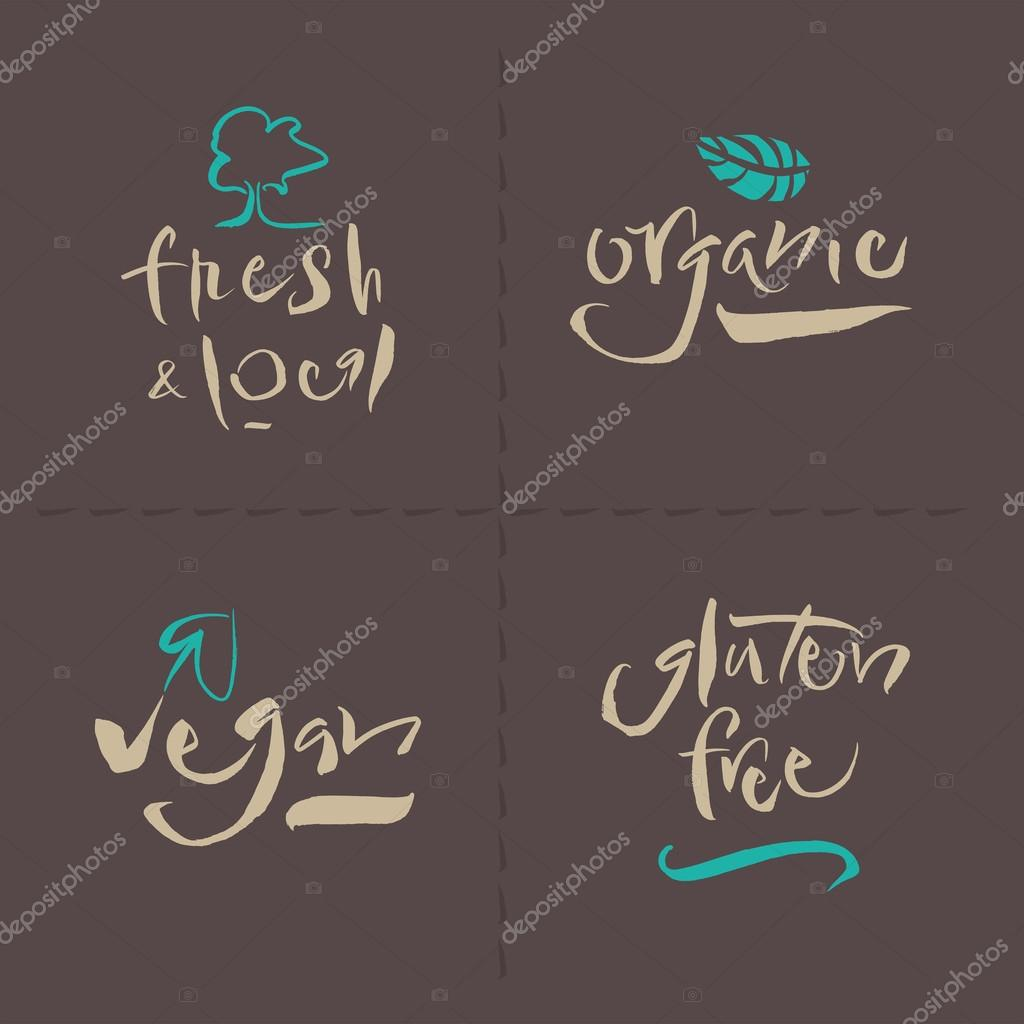 Vegetarian Collection - Organic - Fresh & Local - Gluten Free - Vegan - Calligraphy