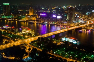 Cairo bridge night