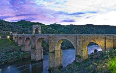 Alcantara Roman bridge sunset