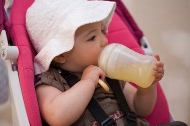 Drinking juice from bottle