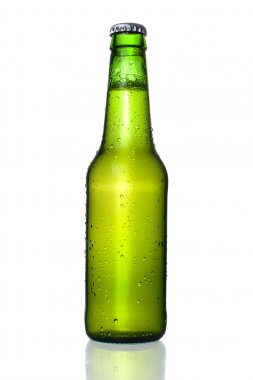 Cold Frosted Beer Bottle on White Background