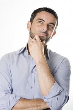 Young Man with Beard Thinking Isolated White